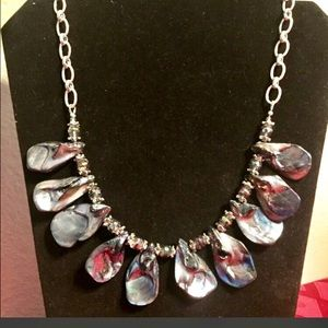 Abalone Shell and Chez Crystals Handmade Necklace